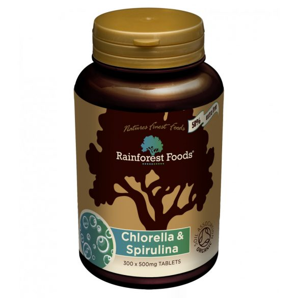 Rainforest Foods BIO CHLORELLA és SPIRULINA alga tabletta 300 db
