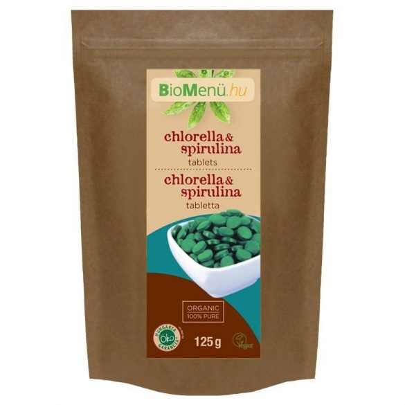 BioMenü BIO CHLORELLA és SPIRULINA ALGA tabletta 125 g
